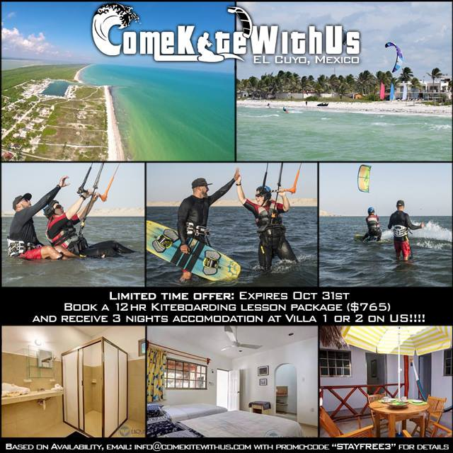 El Cuyo Mexico kiteboarding lessons accommodation free 12 hours 9 kiteboard kitesurfing kite learn cheap