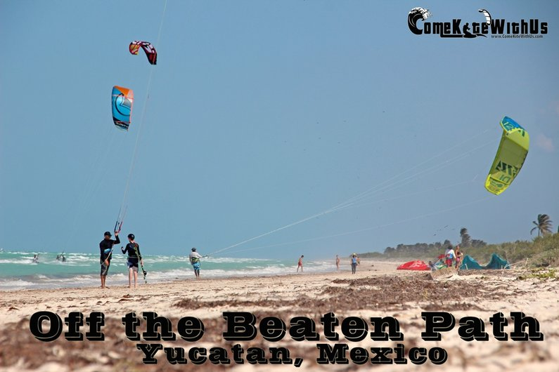 Off the beaten path yucatan Mexico, El Cuyo Kiteboard lessons iko school teach windy kiteboard lessons guide map cancun playa del carmen tulum better place
