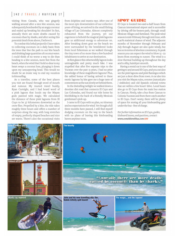 Kiteboard el cuyo mexico with comekitewithus kiteboard school el cuyo and a ruffing it guide to kiteboarding el cuyo in kiteworld magazine