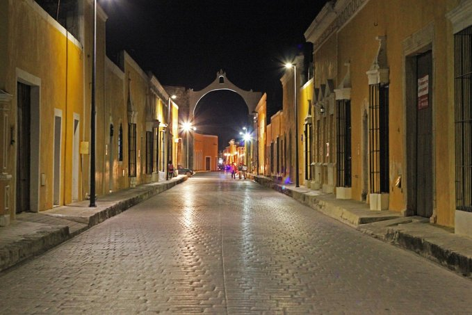 Izamal Yucatan Mexico at night, the Yellow city under the start is amazing to explore with moon light