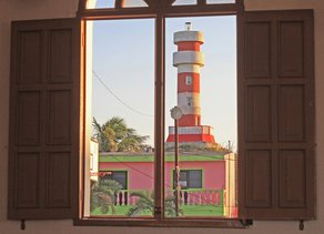 El Cuyo Mexico lighthouse in the center of town on an old Mayan Ruin, kiteboarding lessons here are awesome