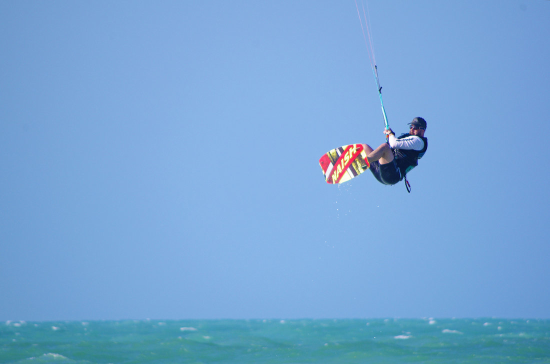 Big jump in el cuyo Mexico yucatan at come kite with us, kiteboarding and lessons for the best wind in mexico