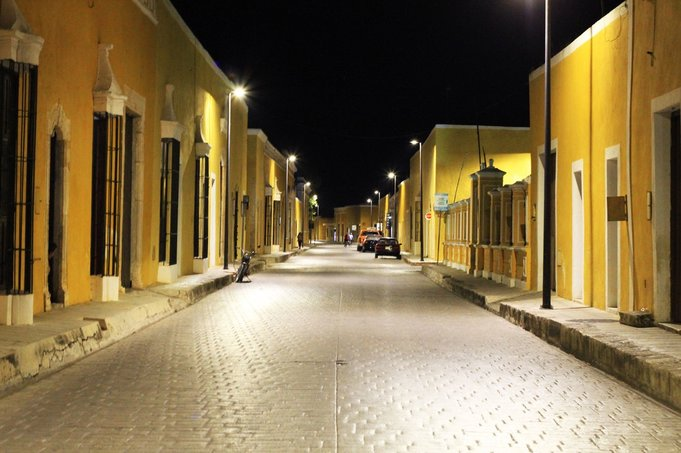 The Yellow City of Izamal Mexico in the Yucatan, under the moon light is amazing to explore with no one in the streets
