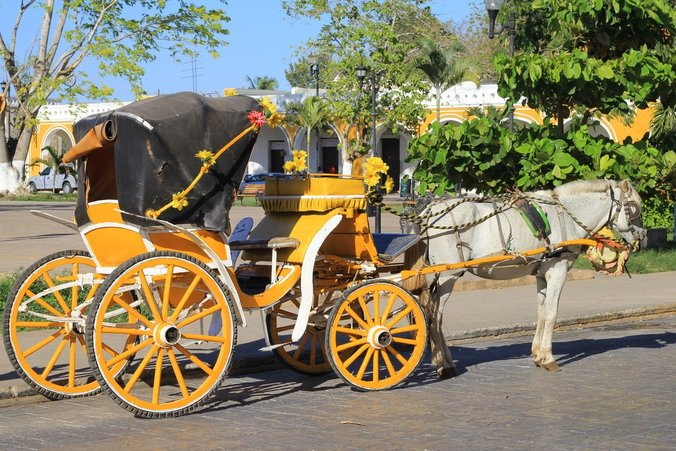 Horse carriage rides around the Yellow City of Izamal Yucatan Mexico