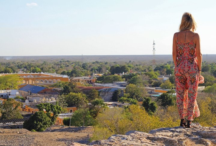 Kinich-KakMo view on top of pyramid mayan ruins in Izamal Yucatan Mexico Guide tips and best things to see and do